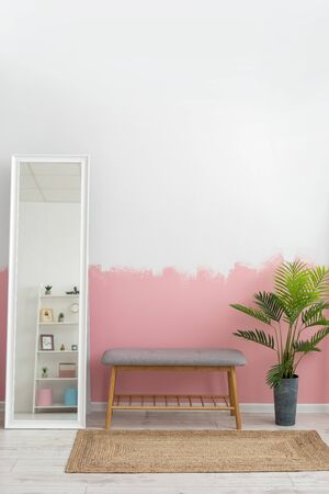 Vertical photo of modern interior room with comfortable furniture, bench seat, woven rug, green houseplant in flowerpot near mirror against painting pink wall on background Imagens