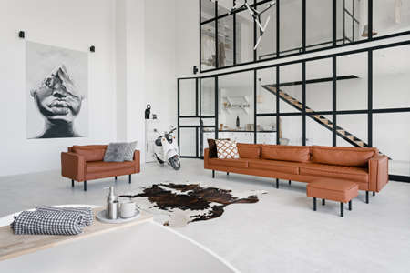 Loft style interior in house with modern living room, bath in bathroom, comfortable couch, pillows on leather armchair, painting on wall and scooter on concrete floor with skin carpet Reklamní fotografie