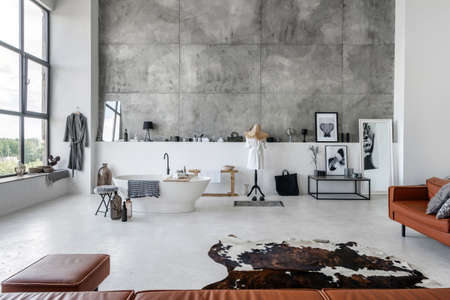 Modern interior house with comfortable bathroom, bathrobe near bath against copy space wall on background. Living room with leather couch, armchair, pouf, carpet on concrete floor and home decor Reklamní fotografie - 151446275