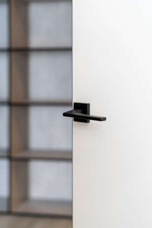 Vertical photo of minimalist handle on open door with blurred room on background. Element of contemporary interior design with copy space Standard-Bild