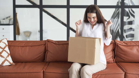 Shopping delivery concept. Happy and excited young woman sitting on couch wearing in casual clothes, unpacking carton box, raised hand up and smiling wide Stock fotó