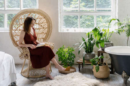 Creamy and charming adult woman sitting near houseplants in wicker armchair at cozy bedroom with interior design in boho chic style, reading book, spending weekend morning at home 版權商用圖片
