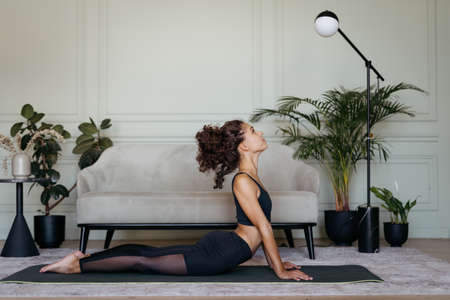 Gym at home concept. Full length view of confident sportive african american woman training alone, making sport exercise on yoga mat against comfort couch in cozy living room 写真素材
