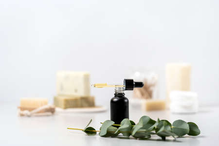 Concept of natural and organic cosmetics. Selective focus on glass bottle with serum oil near eucalyptus plant against white copy space background