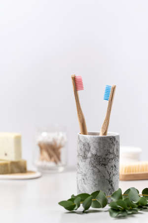 Concept of dental oral care and eco friendly objects. Vertical view of bamboo toothbrush in cup near fresh eucalyptus plant against white copy space background in bathroom 写真素材