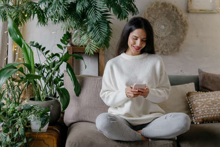 Happy young adult woman using modern smartphone, spending weekend at home, smiling wide and resting in lounge room with cozy interior and green plants 版權商用圖片