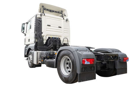 New truck cab and flatbed isolated on white copy space background. Modern motor vehicle used in shipping, delivery and logistics service. Cargo transportation concept Imagens
