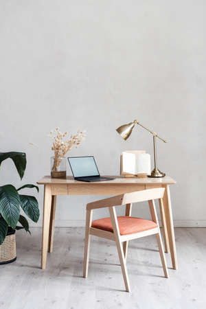 Home office design in contemporary apartment. Laptop computer with copy space display. Comfortable workplace with wooden furniture, table and chair decorated with green potted plant and house decor Banco de Imagens