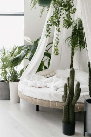 Modern cozy bedroom with round canopy bed and green tropical plants, vertical shot. Contemporary apartment with bohemian interior style. Lazy morning at home and perfect place for relaxation concept 免版税图像
