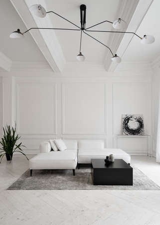 Vertical shot of white leather sofa on legs with cushions on gray carpet in front of window in minimalist hotel room with impressive ceiling light and futuristic chair, abstract picture on wall
