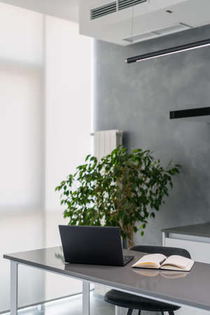 Modern glossy kitchen counter with laptop and open note book, comfortable sleek kitchen with gray theme and simple design, hanging black light bar, green plant in background