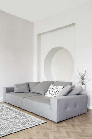 Sofa in modern apartment interior, living room decor. House style design with furniture, contemporary flat with classic gray cozy couch near white wall. Trendy scandinavian apartment.