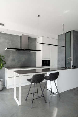 Spacious kitchen with minimalist square shaped furniture, gray floor and walls, counter with integrated sink and pair of bar stools in front of it, built-in microwave and cooktop. Vertical shot