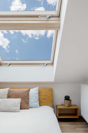 Concept of morning light in house. Vertical view of clean skylight in white bedroom interior. Modern apartment with attic window in small room with home decor, green house plants and cushions on bed