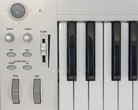 A section of a computer music keyboard controller.