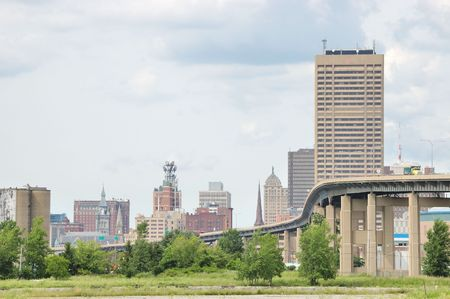 Buffalo New York Skyway bridge leading into downtown Buffalo. Stock Photo