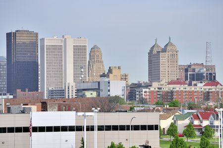 Buffalo New York Skyline looking into downtown.