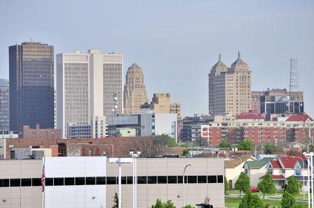 Buffalo New York Skyline op zoek naar centrum.