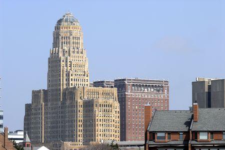 'city hall': Buffalo New York city hall building from the rear. Stock Photo