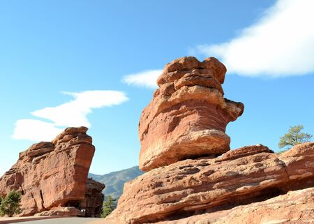 geological formation: Scenic view of rock formations at Garden Of The Gods Park outside of Colorado Springs,Colorado. Stock Photo