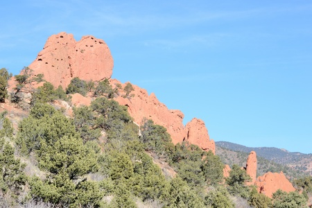 Scenic view of rock formations at Garden Of The Gods Park outside of Colorado Springs,Colorado. photo
