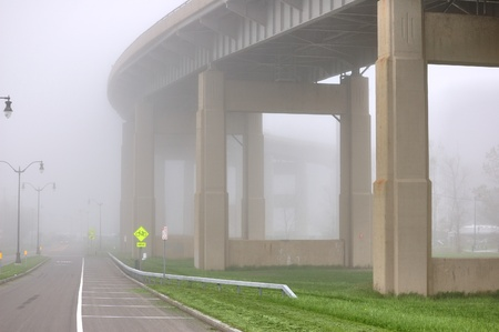 Buffalo New York Skyway bridge leading into downtown Buffalo with fog. photo
