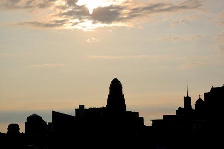 Buffalo New York Skyline silhouet van het centrum van Buffalo. Stockfoto