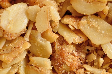 A closeup macro of yogurt topping of nuts for background or copy space.