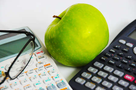 calc and apple Stock Photo