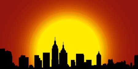 city silhouette in sunshine Stock Photo