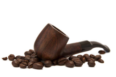 pipe and coffe isolated