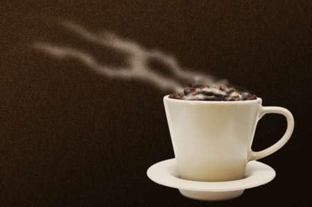 coffee and smoke on brown background