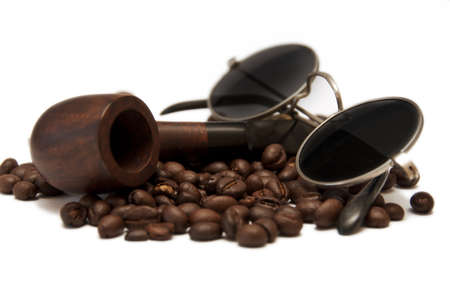 pipe, coffee and glasses isolated on white background