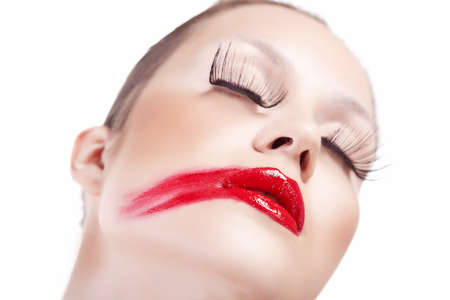 womans face, lipstick smeared photo