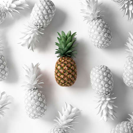Painted pineapple concept. Vegan background