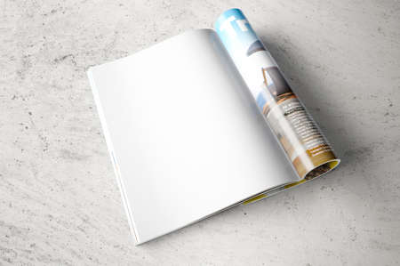 Opened page of magazine
