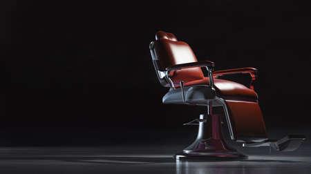 Sedia da barbiere in uno spazio industriale.