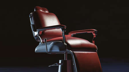 Barber shop chair in industrial space.