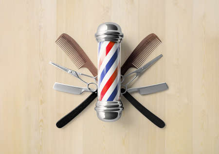 Barbershop signboard with razor and scissor background design concept.