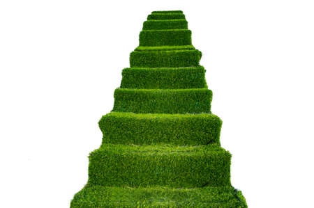 green staircase on a white background