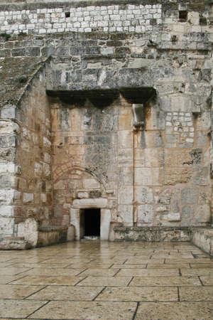 The main entrance to the Basilica of the Nativity. Bethlehem. Stock Photo