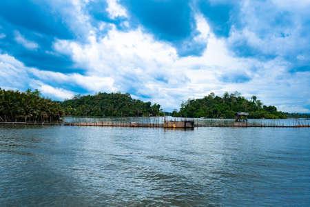 Madu River Safari, beautiful tropical riverbank. fish farm fence. Balapitiya, Sri Lanka Banque d'images