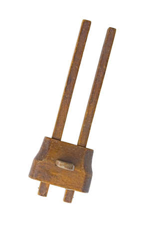 Old woodworking marker gauge tool. Isolated on a white background