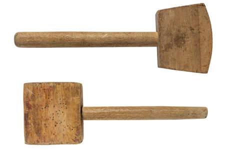 Old wooden mallet (hammer). two types on a white background. isolated
