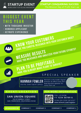 Startup Event Flyer는 사람들을 시작 이벤트에 초청하는 최신 전단지입니다. 사람들과 교류하고 이벤트에 관심을 갖도록 어디에서나 배치 할 수 있습니다.