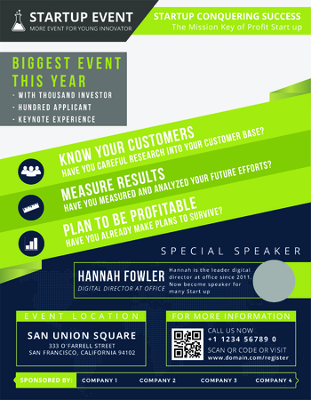 Startup Event Flyer is the modern flyer for you to invite people to the startup event. You can place it anywhere to interact people and make them interest with the event. You can place it on newspaper, magazine, tabloid, wall, bulletin board, signage and  Illustration