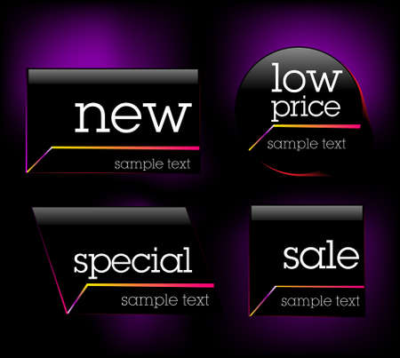 Modern black sale tag sticker Illustration
