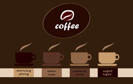 tasses à café - du matin au soir Vecteurs