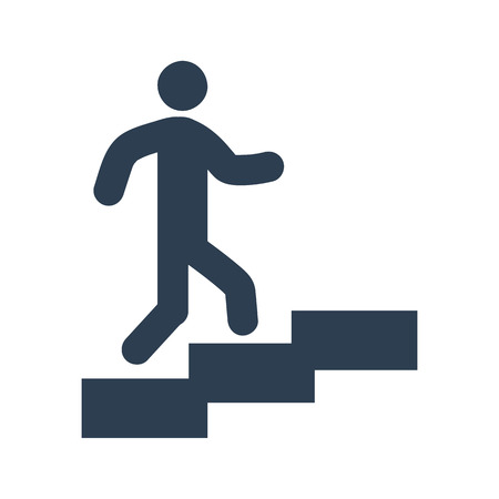 upstairs: man on stairs icon on white background. Vector illustration