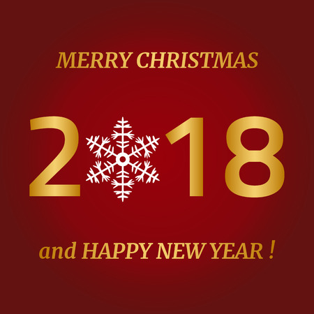 Merry Christmas, Happy New Year greeting card on red background. Vector illustration